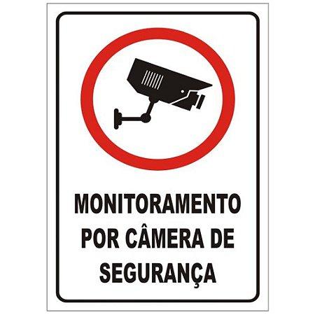 Placa Poliestireno 20 X 30 Monitorado Por Camera Seguranca