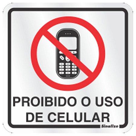 Placa Em Aluminio 15 X 15 Proibido Uso De Celular