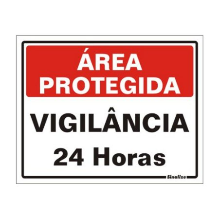 Placa 15 X 20 Poliestireno Area Protegida Vigilancia 24hrs