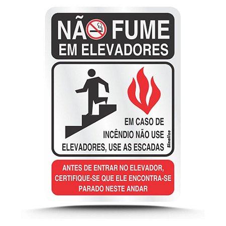 Placa Em Aluminio 16 X 23 Nao Fume Em Elevadores