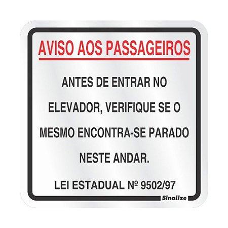 Placa Em Aluminio 15 X 15 Aviso Aos Passageiros