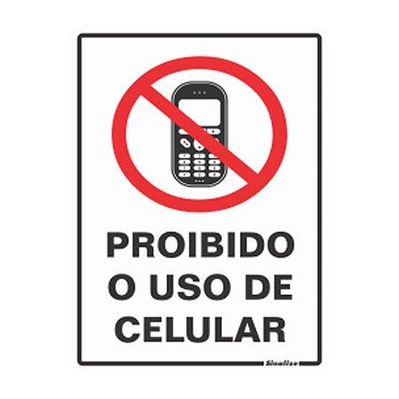 Placa De Poliestireno Auto-adesiva 20x15cm Proibido Uso Celular - 220 Ap - Sinalize