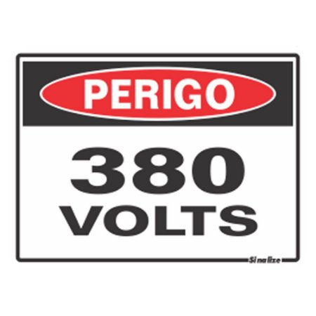 PLACA 15 X 20 POLIESTIRENO PERIGO 380 VOLTS