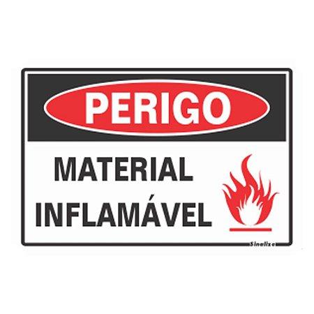 Placa De Poliestireno Auto-adesiva 20x30cm Perigo Material Inflamável - 250 Ap - Sinalize