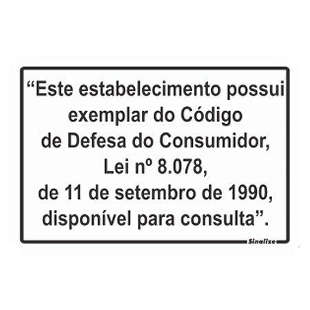 PLACA POLIESTIRENO 20 X 30 LEI DO CONSUMIDOR