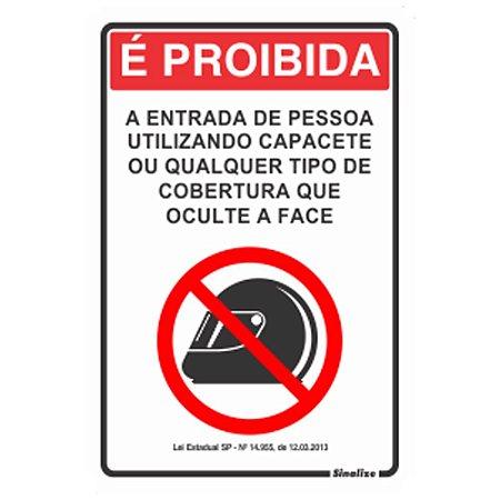 Placa Sinalizadora Em Poliestireno Proibido Uso De Capacete - Sinalize