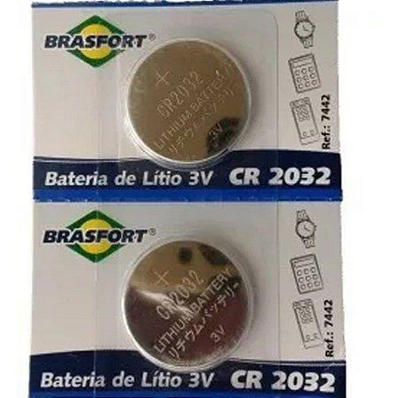 PILHA BATERIA REDONDA LITIO 3V CR2032 BRASFORT - 7442