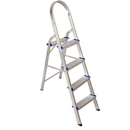 Escada Aluminio Dobravel Leve 4 Degraus Real Escadas