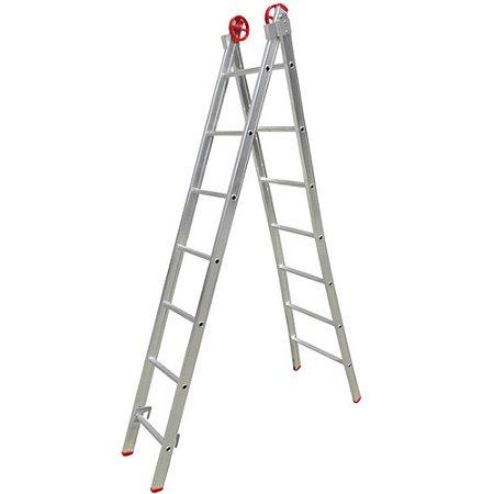 Escada Multifuncional 3 Em 1 Em Alumínio 2 X 15 Degraus