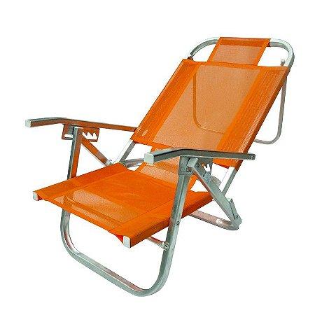 Cadeira De Praia Copacabana Reclinavel Laranja