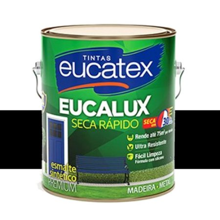 Tinta Eucalux Esmalte Premium Preto 900 Ml Eucatex