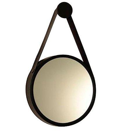 Espelho Decorativo Preto Cinta De Couro Preto Ø60cm