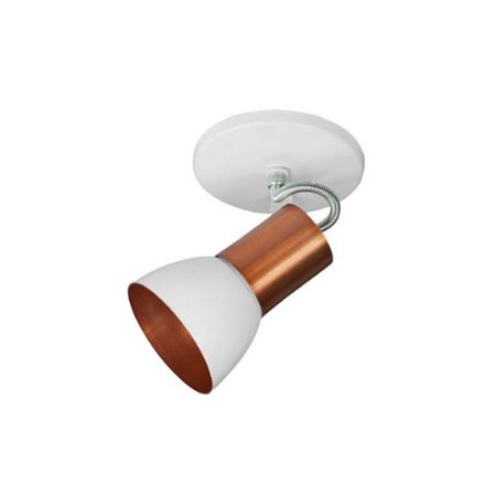 Spot Cone para 1 Lâmpada E27 Branco e Cobre SP1945-1