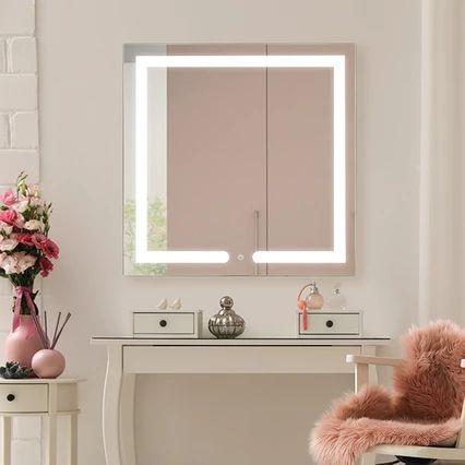 Espelho Quadrado com Led 80x80CM Touch Delphinium