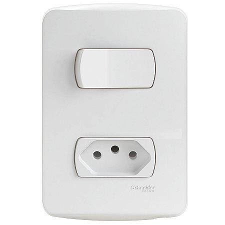 Conjunto 1 Interruptor Simples + 1 Tomada 2P+T 10A Schneider Miluz S3B69030