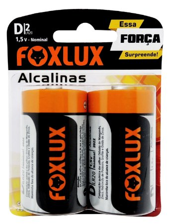 Pilha D Alcalina Foxlux com 2 unidades 95.06