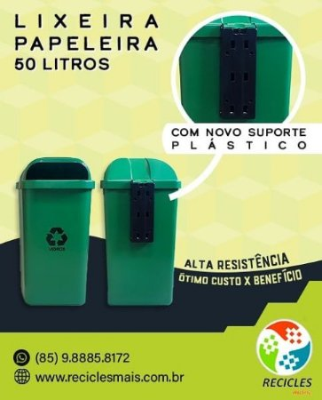LIXEIRA C/ ABERTURA FRONTAL 50L (PAPELEIRA)