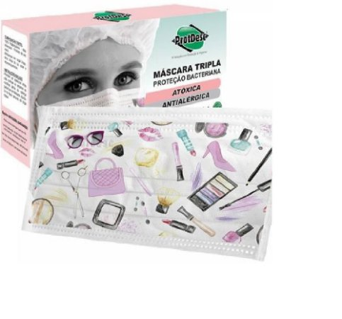 Mascara tripla com elástico - Colorida Fashion - pct com 20 - Protdesc