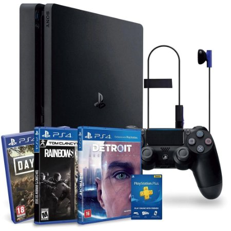 CONSOLE SONY PLAYSTATION 4 HITS BUNDLE 1TB - DAYS GONE + DETROIT BECOME HUMAN + TOM CLANCY´S RAINBOW SIX - CUH-2214B