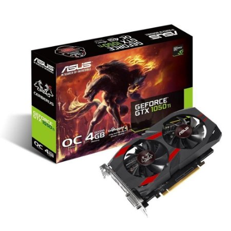 PLACA DE VIDEO ASUS GEFORCE GTX 1050 TI OC 4GB GDDR5 128-BIT, CERBERUS-GTX1050TI-O4G