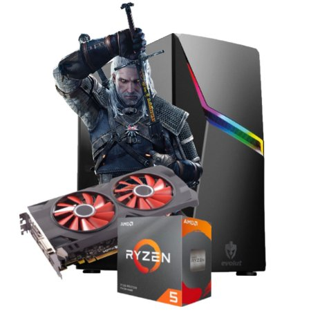 COMPUTADOR GAMER WITCHER, RYZEN 5 3600, RADEON RX 570 4GB, 8GB DDR4, SSD 240GB, 500W 80 PLUS