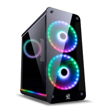 GABINETE PCYES! SOLARIS RGB LATERAL VIDRO PRETO, SOLPTRGB2FV 32076