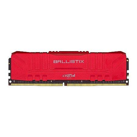 MEMORIA CRUCIAL BALLISTIX 8GB (1X8) DDR4 3000MHZ VERMELHA, BL8G30C15U4R