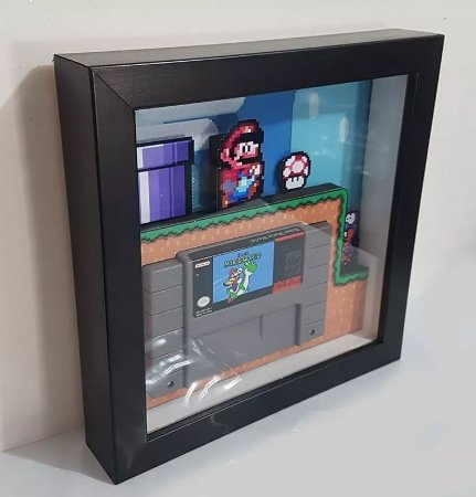 Quadro Super Nintendo 3d - Fita Super Mario World