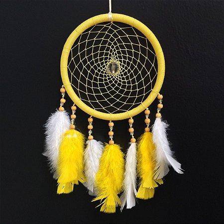 Filtro dos Sonhos Grande (19cm) Amarelo com branco