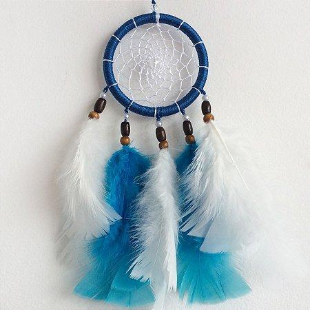 Filtro dos Sonhos Médio (12cm) Azul com branco