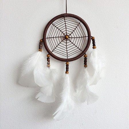 Filtro dos Sonhos Médio (12cm) Marrom com branco