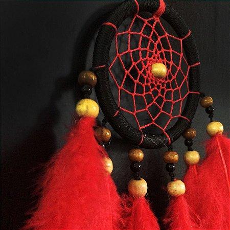 Filtro dos Sonhos Pequeno (9cm) Preto com vermelho