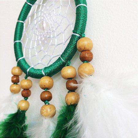 Filtro dos Sonhos Pequeno (9cm) Verde com branco