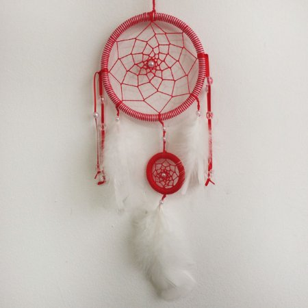 Filtro dos Sonhos Médio (12cm) com Mini Filtro (4cm) Vermelho com branco