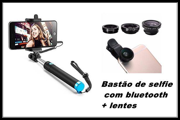 Kit pau de selfie com bluetooth + lentes para celular