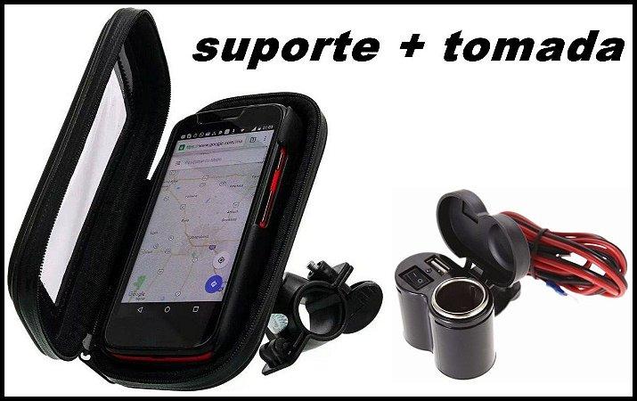 Kit Tomada moto e suporte celular prova de água