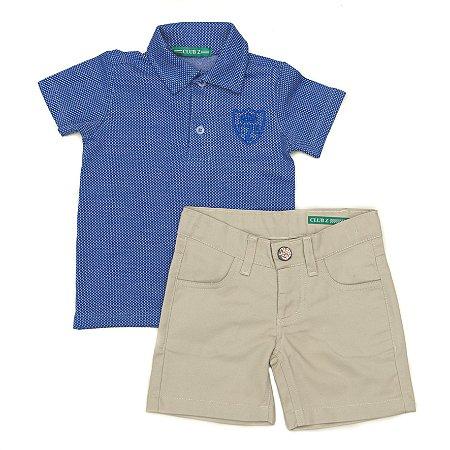 Conjunto Masculino Infantil  Pólo Azul com Bermuda Bege Club Z
