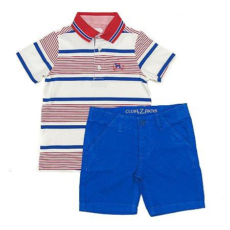 Conjunto Masculino Infantil Polo Listrada com Bermuda Club Z
