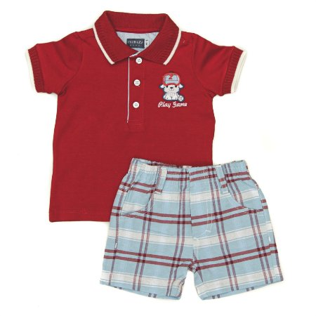 Conjunto Masculino Bebe  Polo Vermelha com Bermuda Club Z