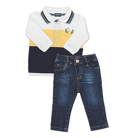 Conjunto Masculino Bebê Camisa  Pólo listrada  Com Calça Jeans