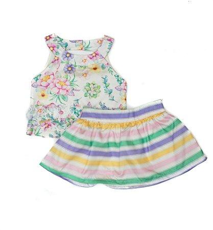 Conjunto Feminino Infantil  Blusa Estampada com Saia Matinée