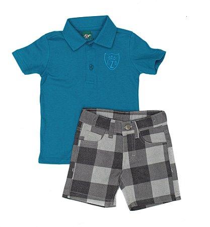 Conjunto Masculino Infantil  Camisa  Pólo  Azul Com Berm Xadrez