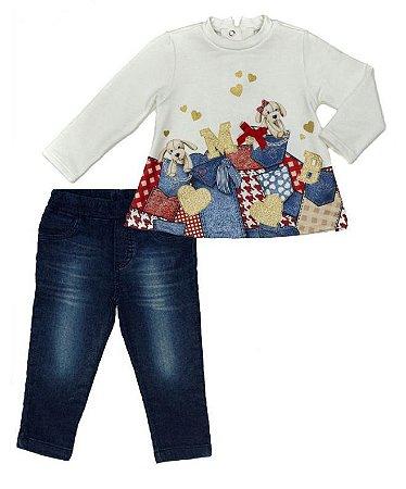 Conjunto Feminino Bebe  Bata Branca  com  Calça Jeans Matinée