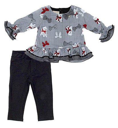 Conjunto Feminino Bebe de Blusa Estampada com Calça Matinée