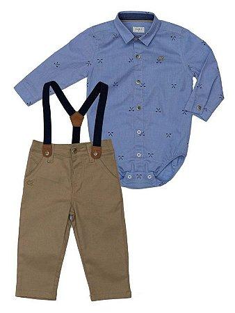 Conjunto Masculino Bebê Camisa Manga longa Azul Com Calça Club Z