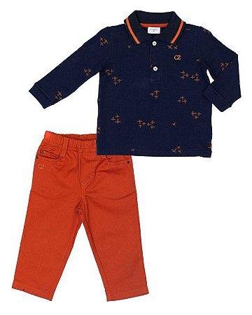 Conjunto Masculino Bebê  Camisa  Polo Azul Com Calça Club Z