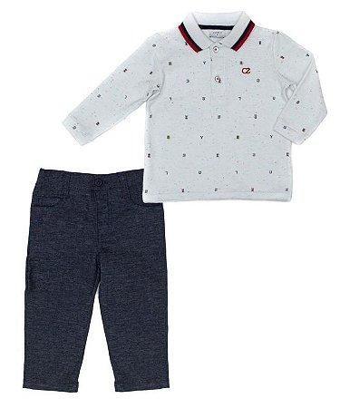 Conjunto Masculino Bebê com Polo Branca e  Calça Club Z