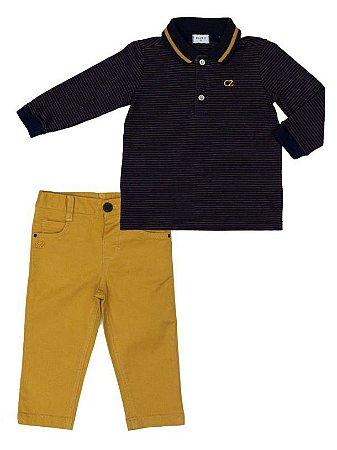 Conjunto Masculino Infantil de Camisa Polo Hype Mini 20  Azul Com Calça Club Z