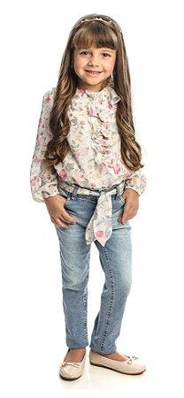 Conjunto  Feminino Infantil  Bata Estampada e Calça Jeans Matinée