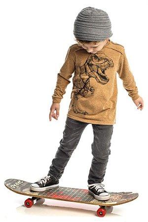 Conjunto  Masculino Infantil de  T-Shirt Ocre Com Calça Jeans Club Z